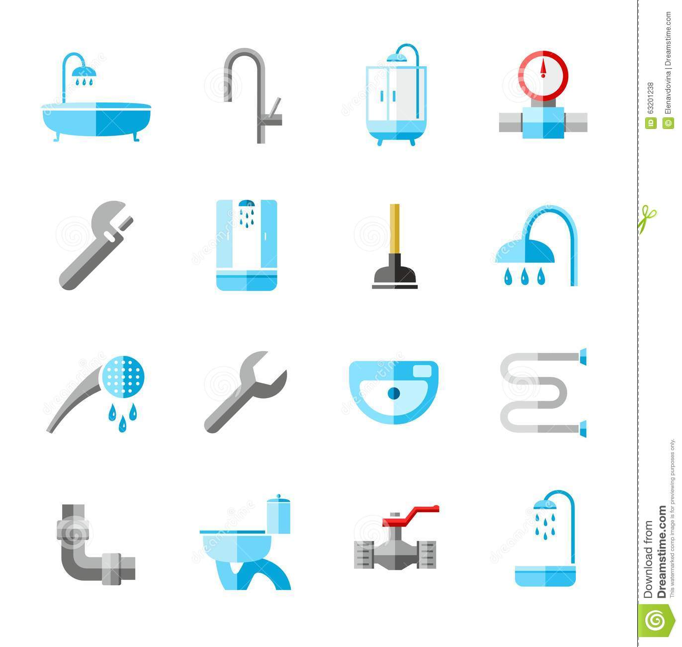 Plumbing Icons Colored Flat Stock Vector Image