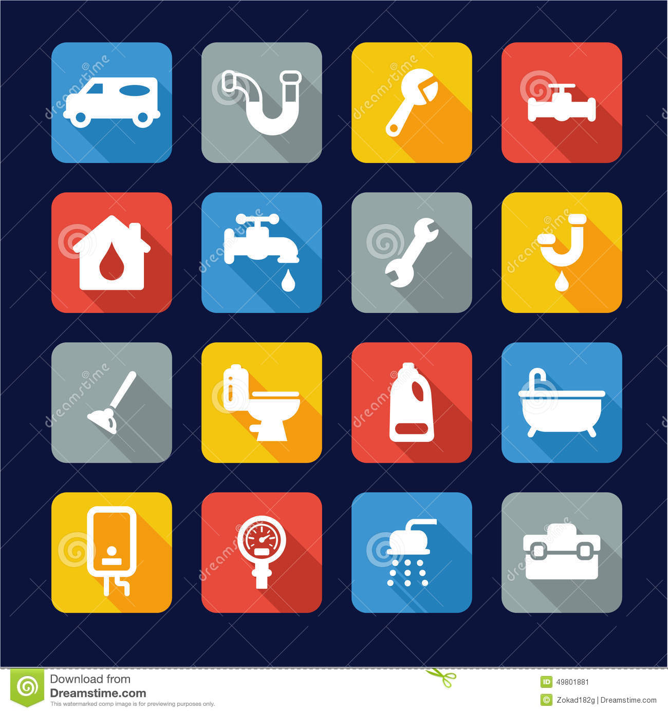 Kitchen Faucet Wrench Plumbing Icons Flat Design Stock Vector Image 49801881