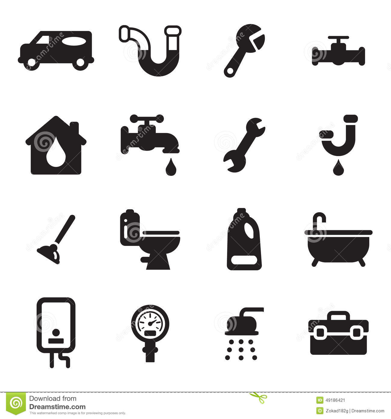 Plumbing Icons Stock Vector Image 49186421