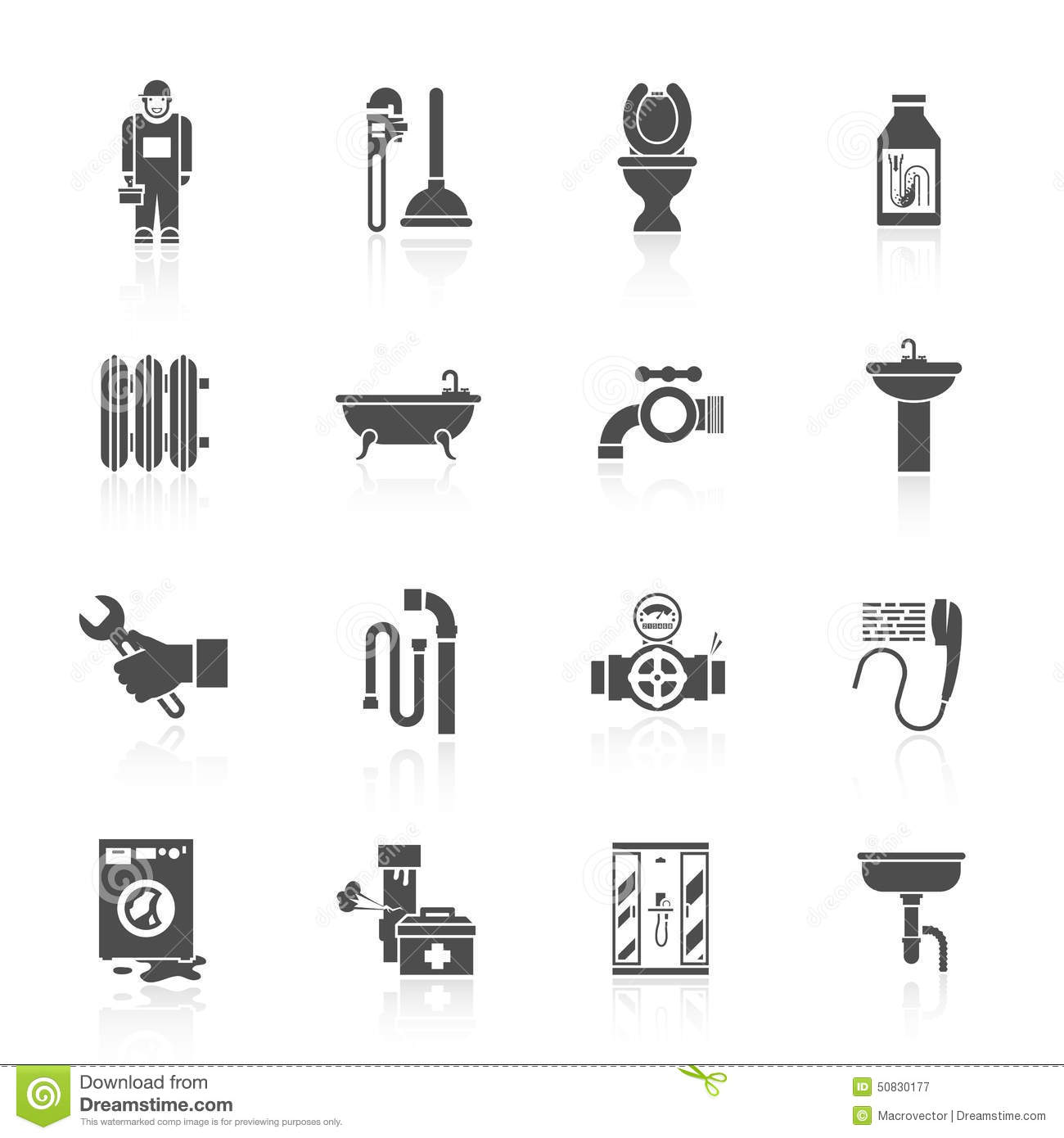 Plumbing Icons Set Stock Vector