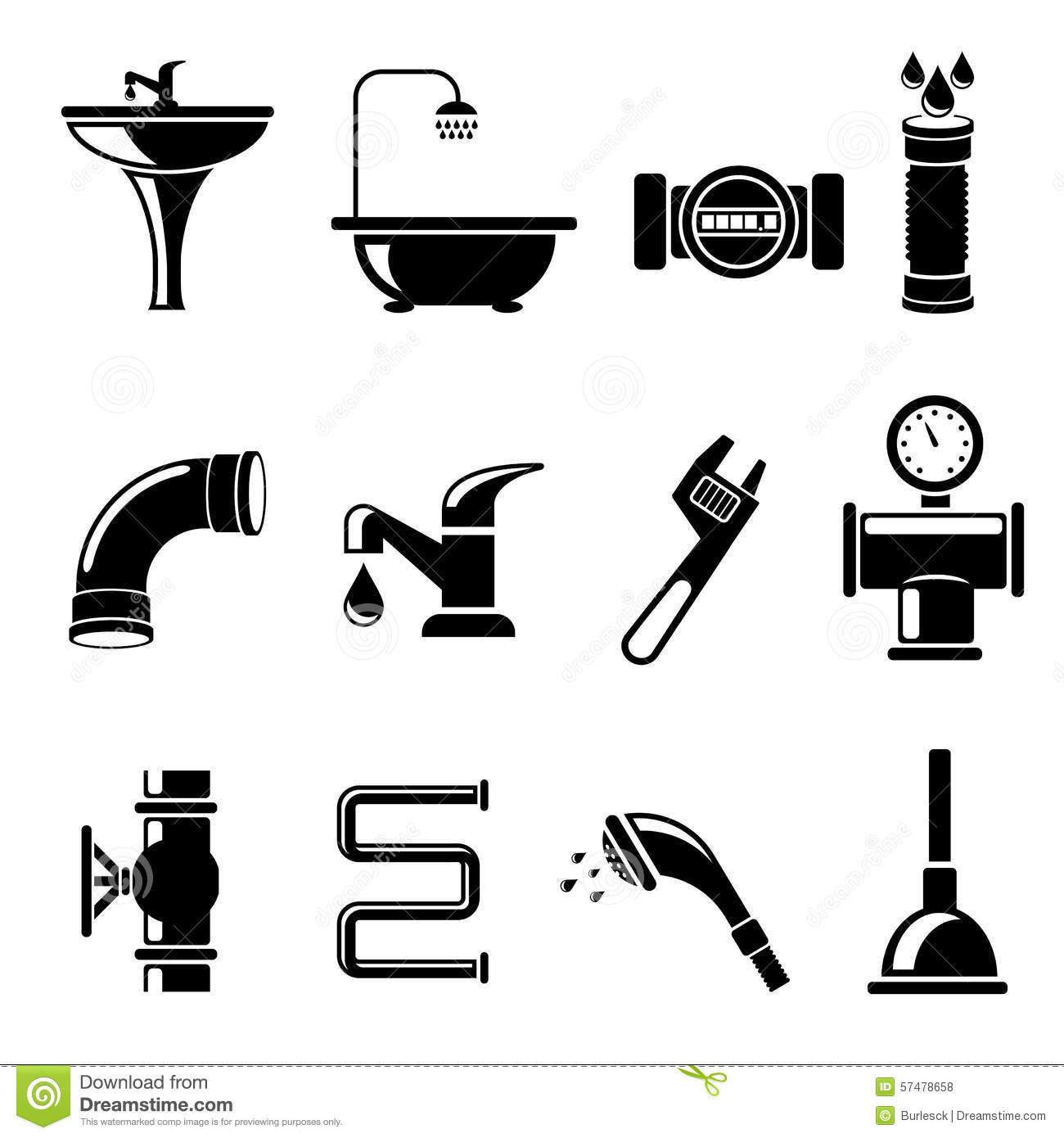 plumbing icons stock vector  illustration of construction