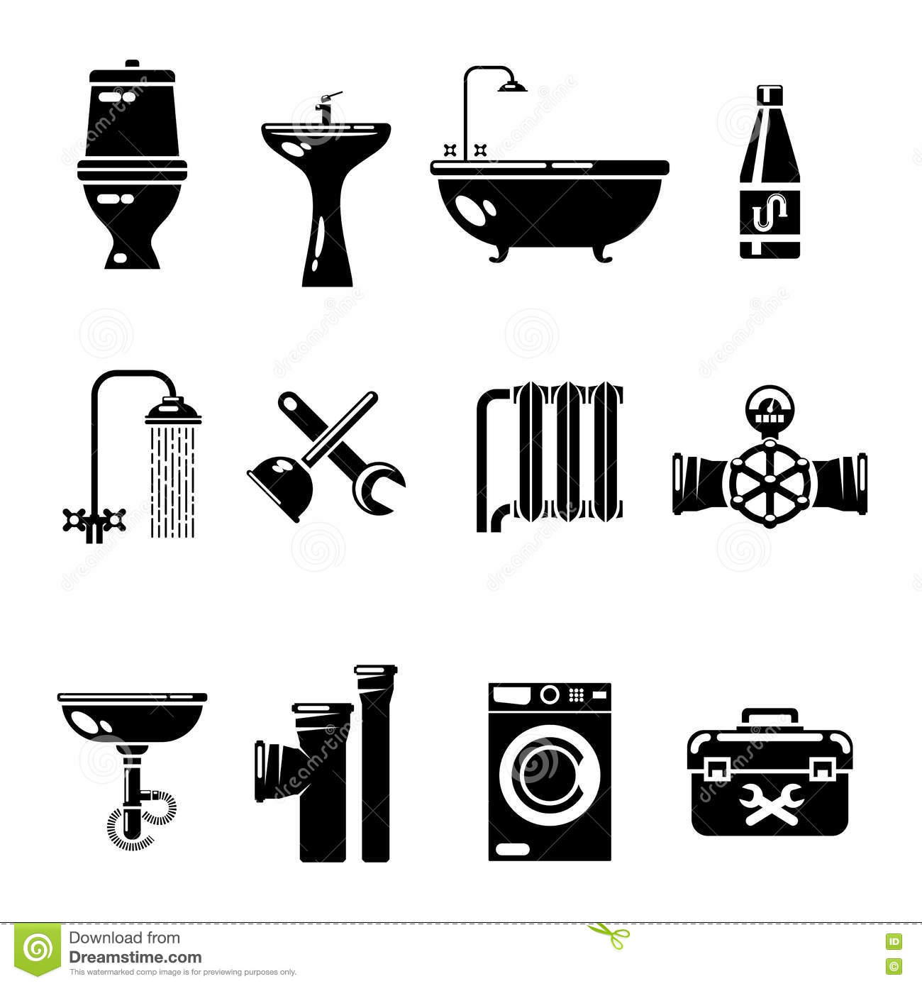 Plumbing Icons. Water Pipe And Shower, Toilet Sink Vector