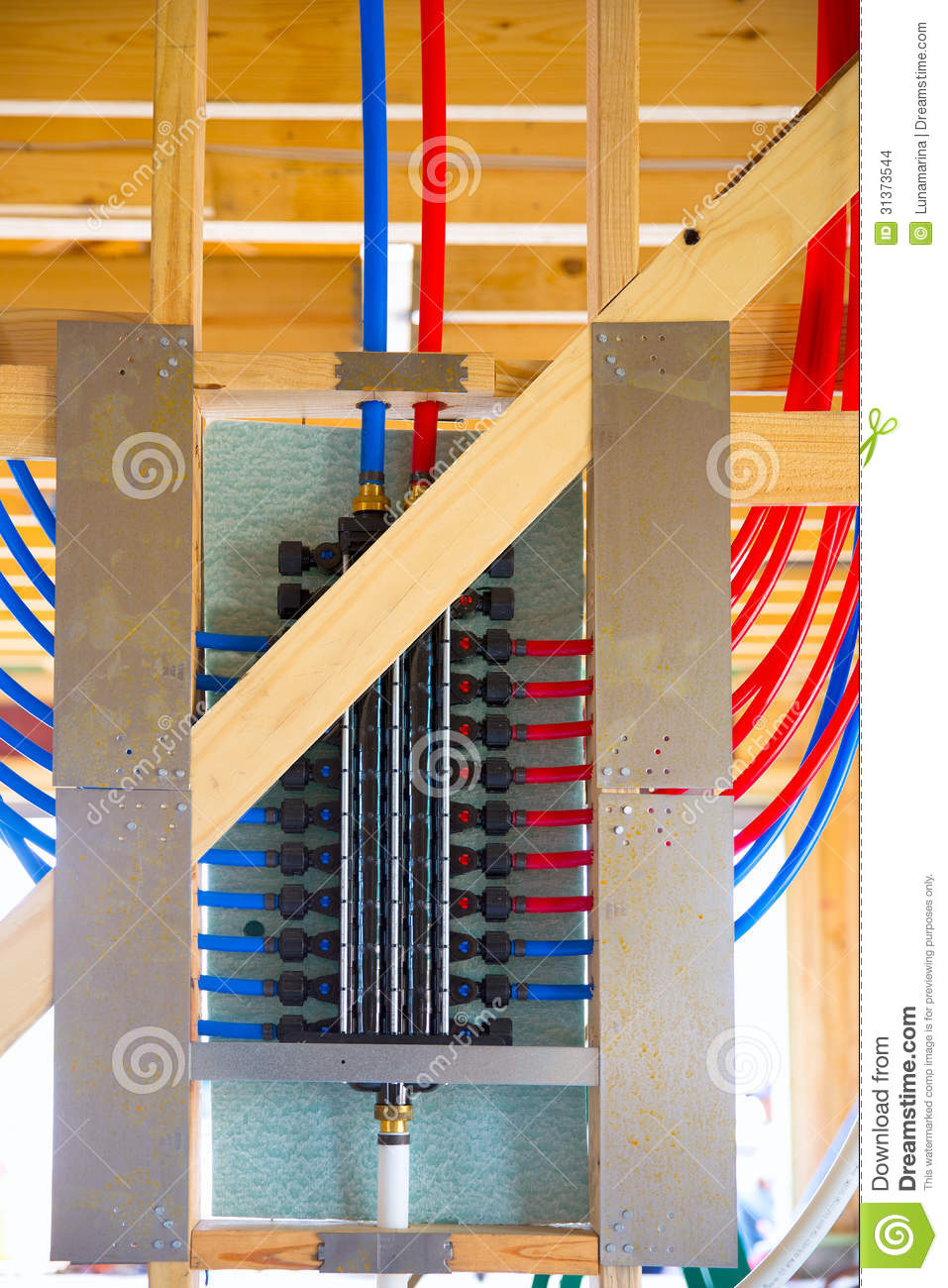 Plumbing Manifold System Pex Tubing Stock Photo
