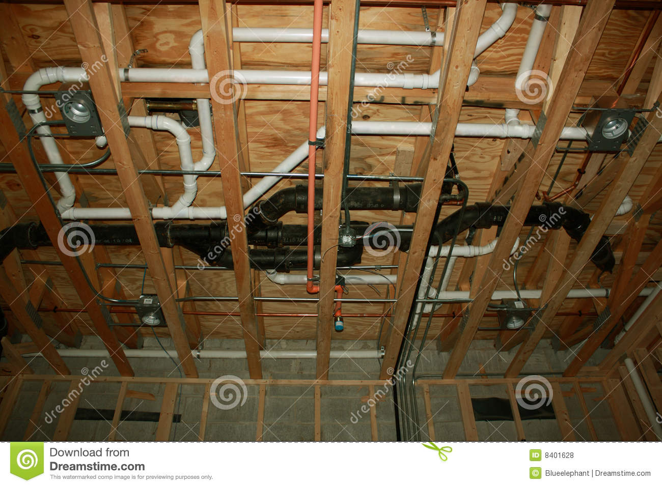 Plumbing new construction stock photo image of home for Plumbing a new house