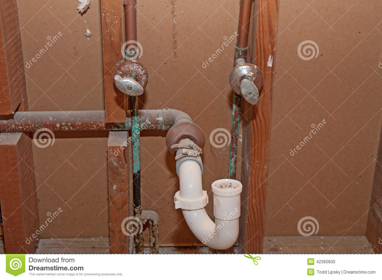 Plumbing - Old Bathroom Pipes Stock Photo - Image of ...