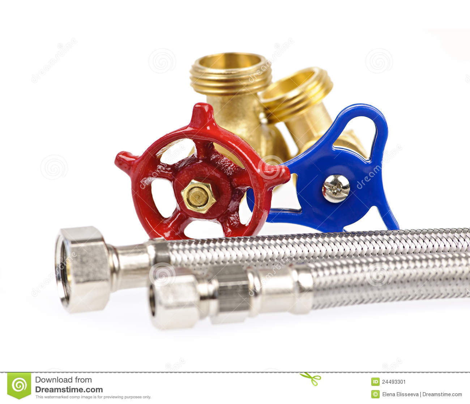 Blue Hoses Metal Parts Plumbing