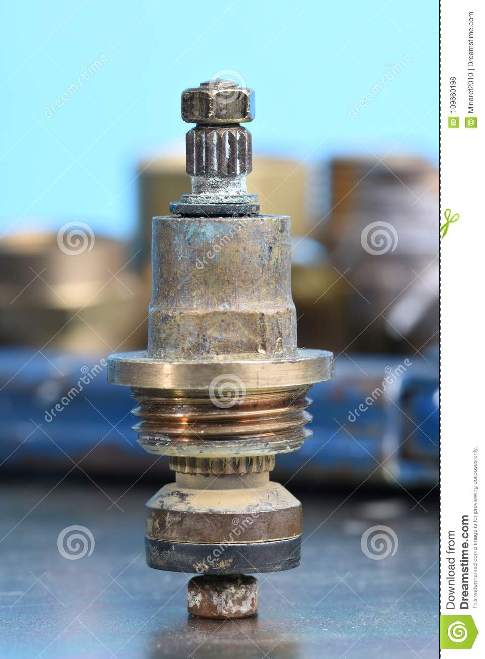Plumbing Parts And Repair Old Brass Tap Valve And Tools Stock Photo ...