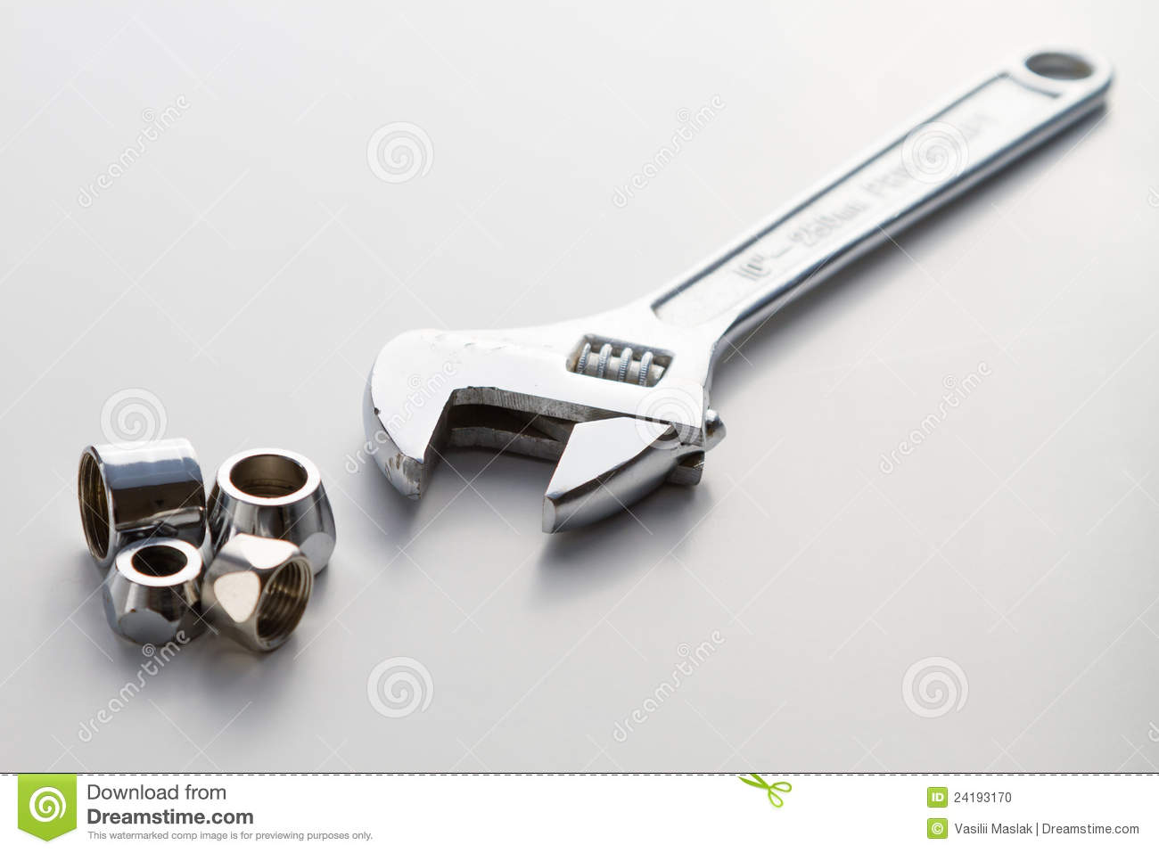 Plumbing Pipe And Adjustable Spanner Monkey Wrench Stock Photo ...