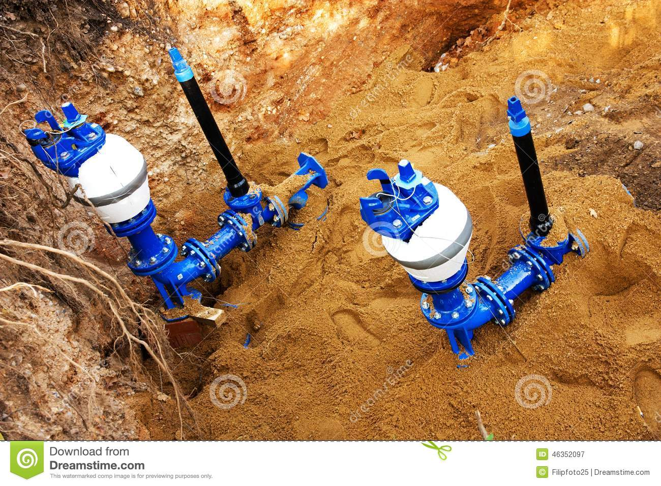 Plumbing and pipes stock photo image 46352097 for New water pipes