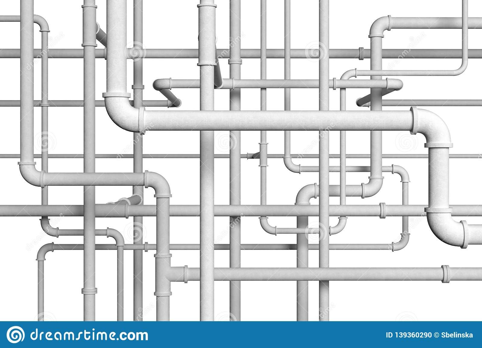 Plumbing pipes on white background 3d illustration