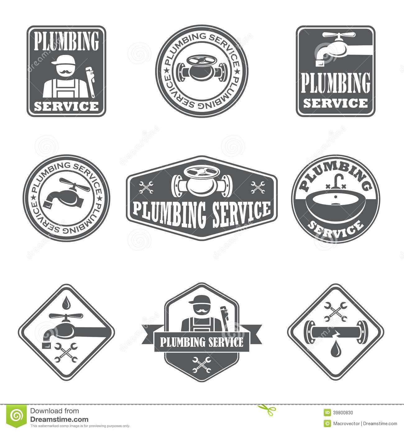 Plumbing Service Badges Stock Vector