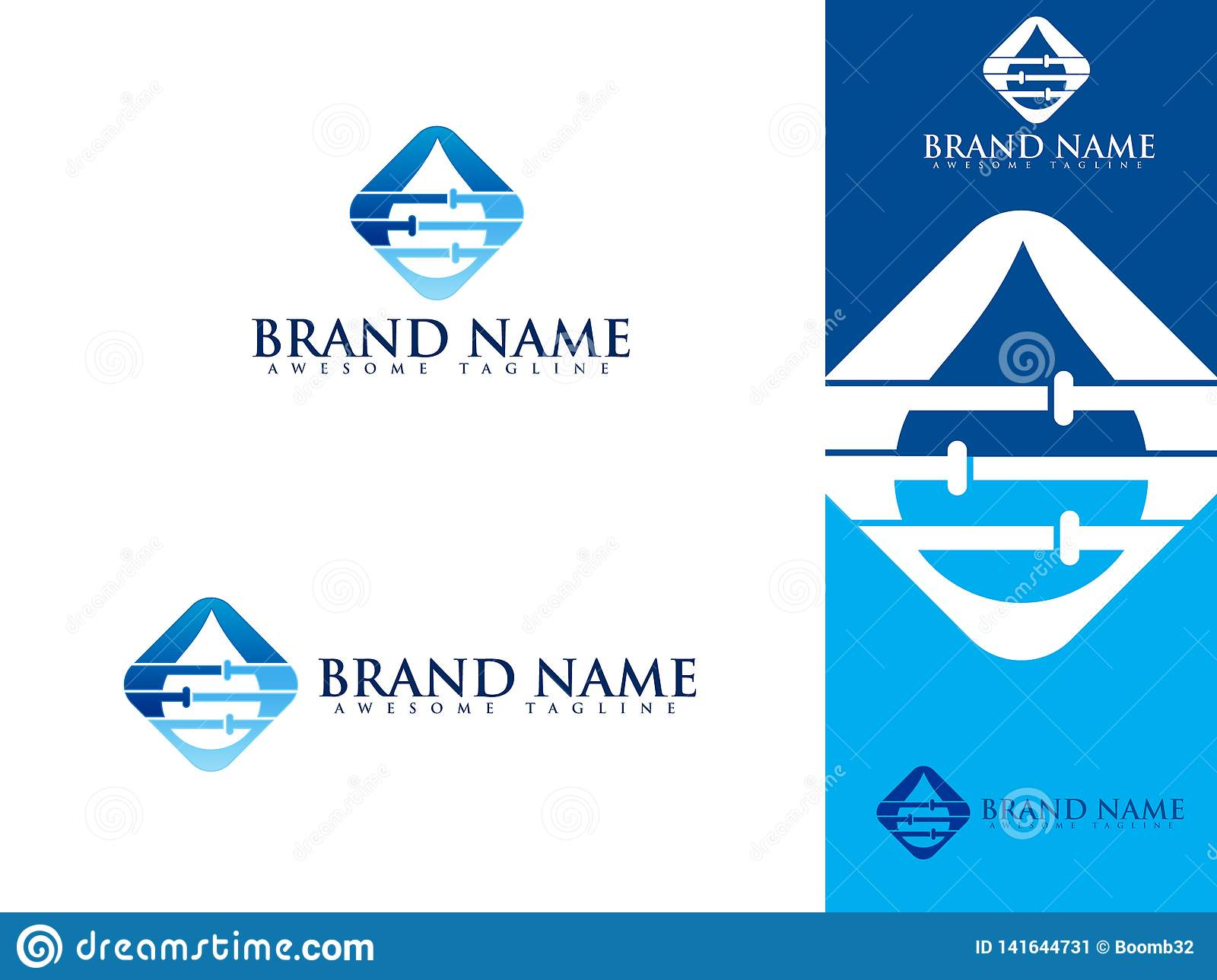 Plumbing Service Logo Set With Water And Pipe Stock Vector