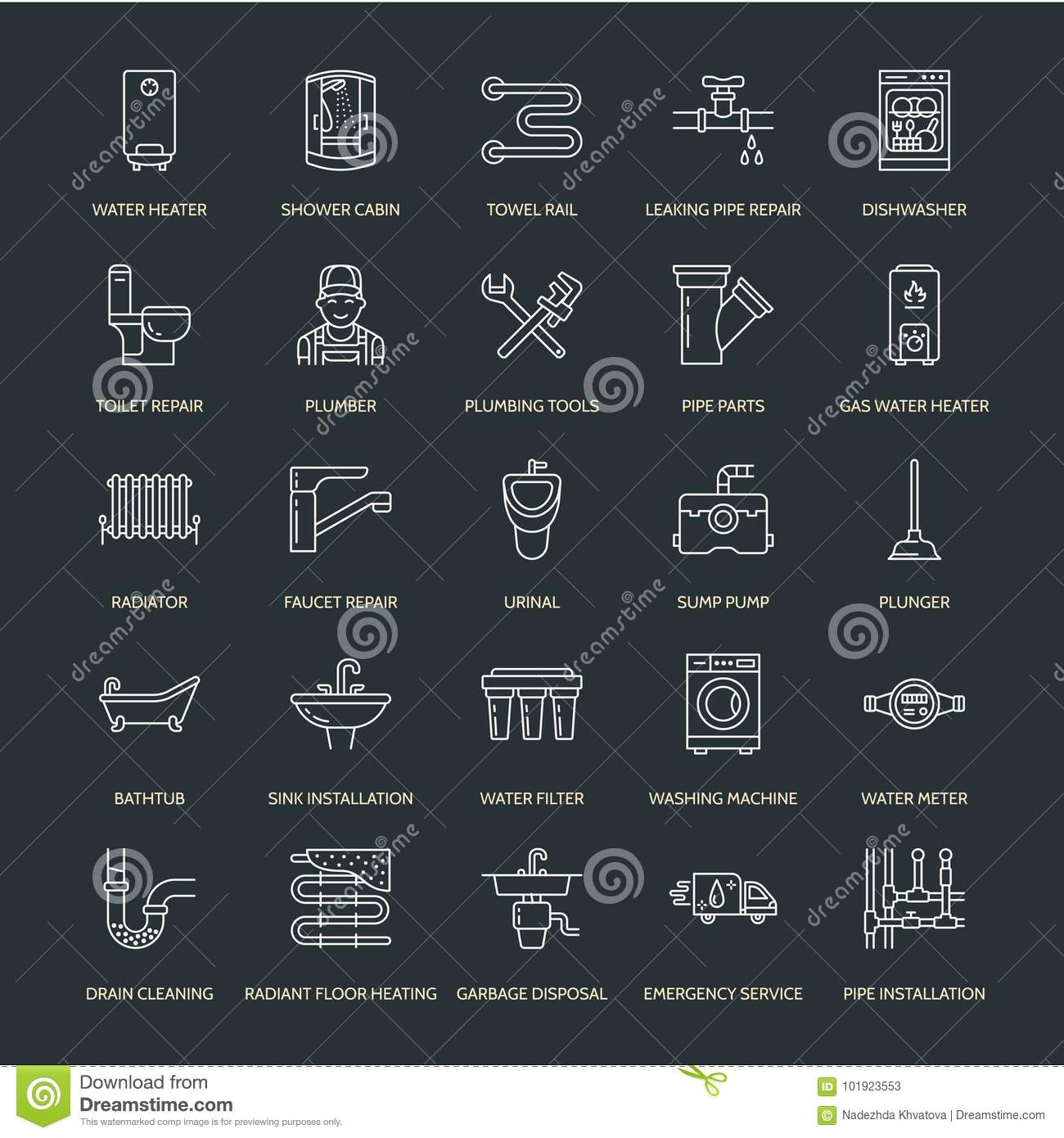 Plumbing Service Vector Flat Line Icons. House Bathroom Equipment ...