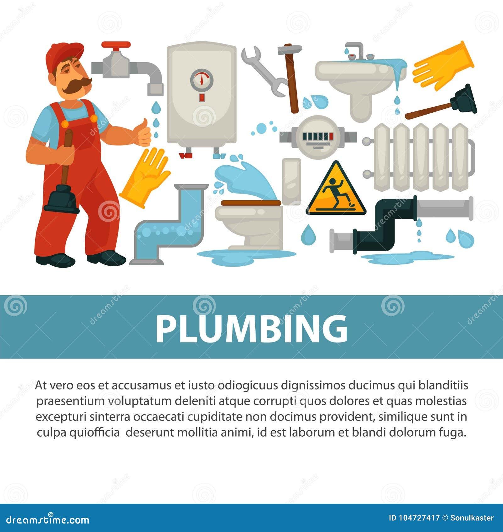 Plumbing Service Vector Poster Of Bathroom Toilet Or Kitchen Plumber ...