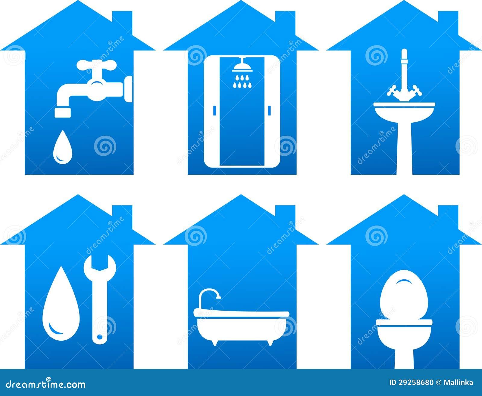 Plumbing Set Of Bathroom Icons Stock Photo Image 29258680