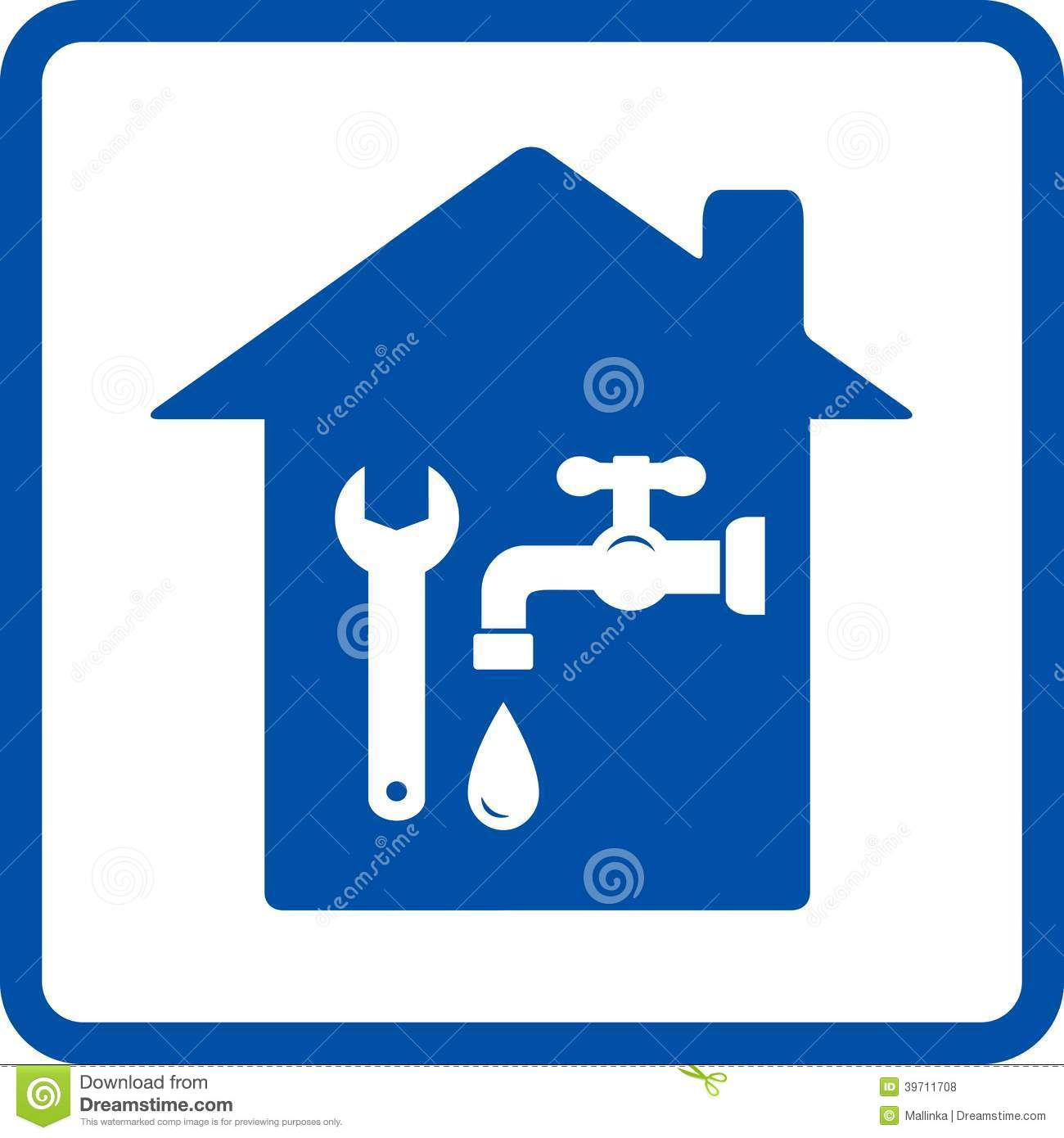 Plumbing Sign With House Stock Vector Image 39711708