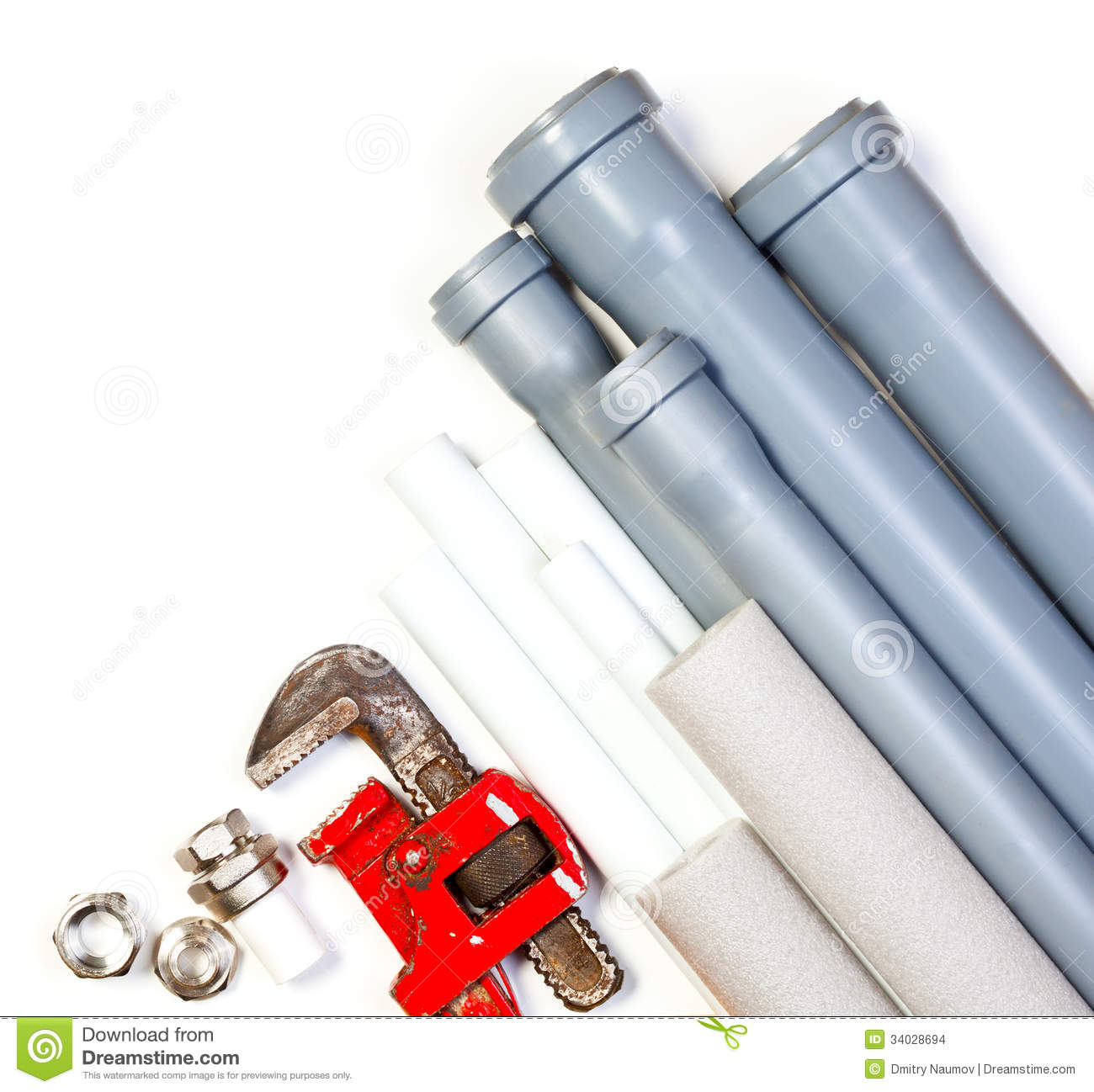 Plumbing supplies stock images image 34028694 for What pipes to use for plumbing