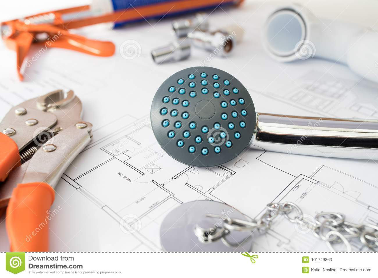 Plumbing Tools And Components Arranged On House Plans
