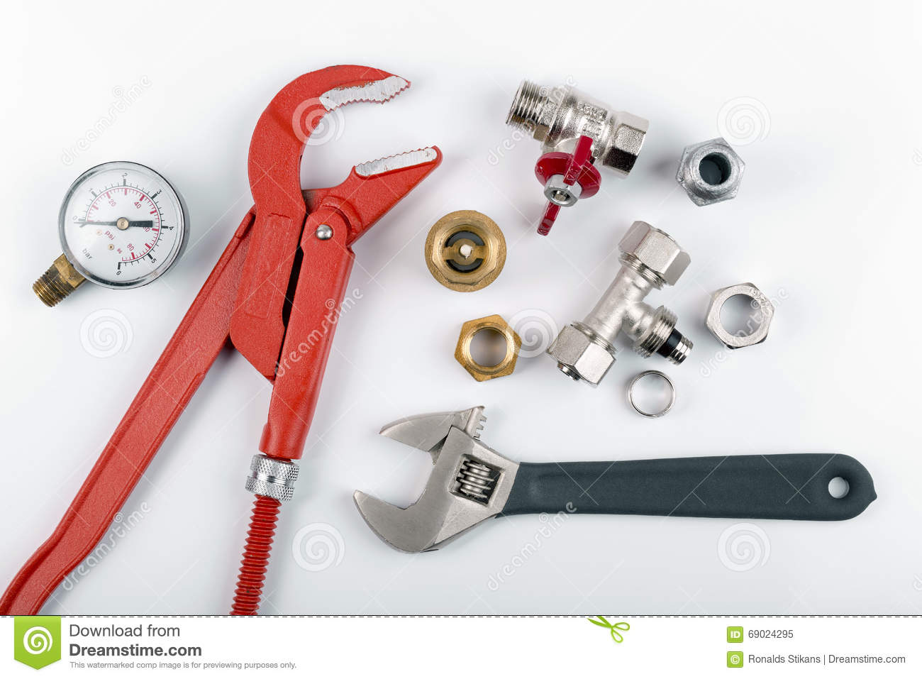 Plumbing Tools And Equimpent On White Stock Image - Image ...