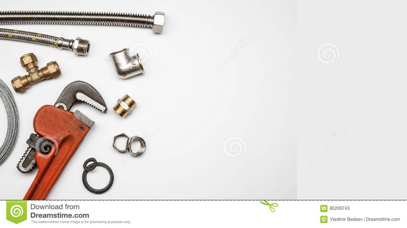 Plumbing Tools And Equipment On White Background With Copy ...