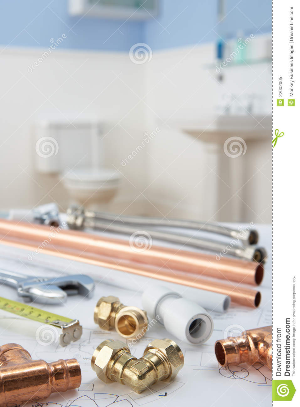 Plumbing tools and materials royalty free stock photo