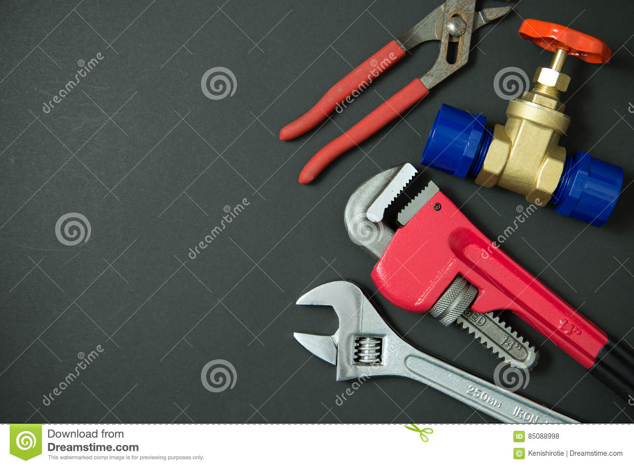Plumbing tools and materials royalty free stock