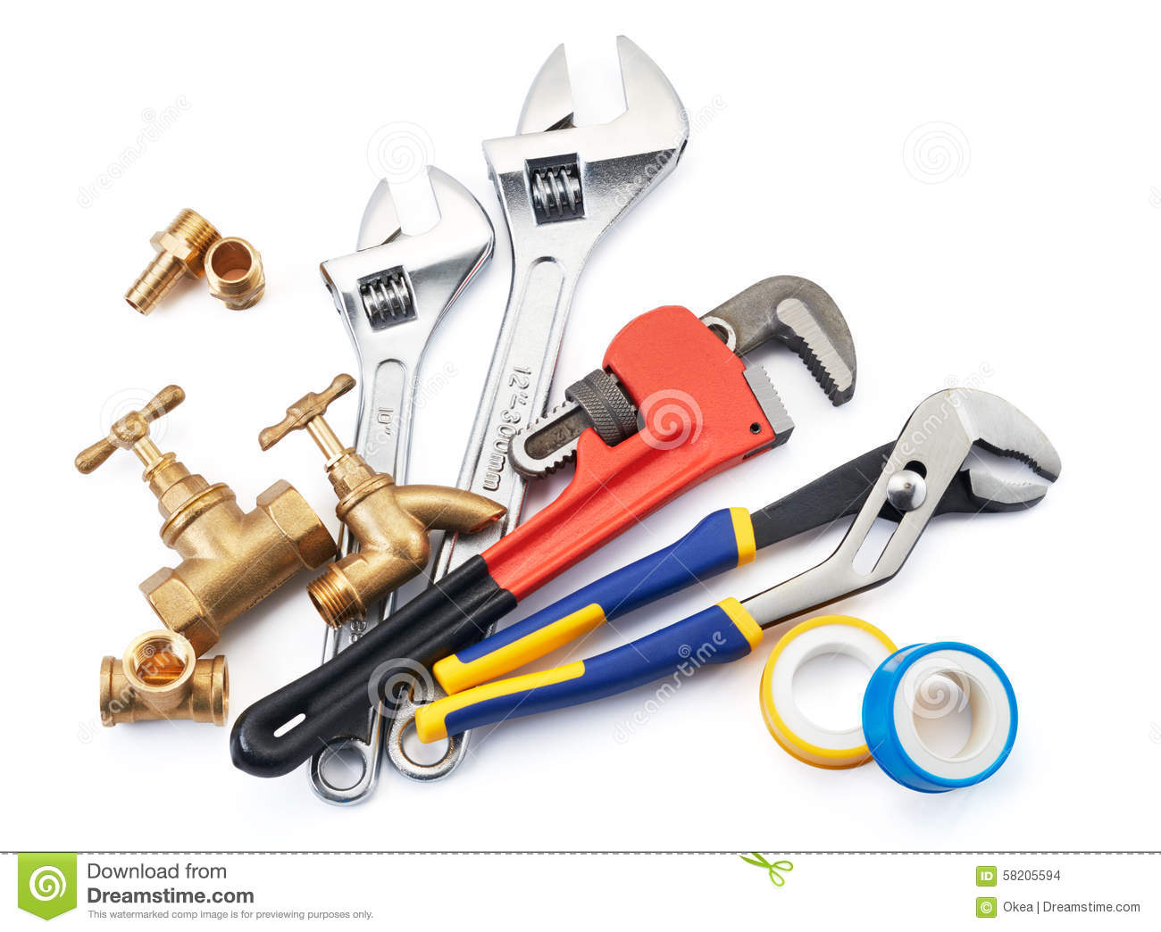 Plumbing tools stock photo image of locking grip white for Types of pipes used in plumbing