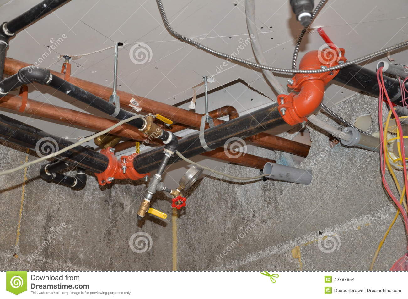 Plumbing Water Lines And Fire Protection Stock Photo