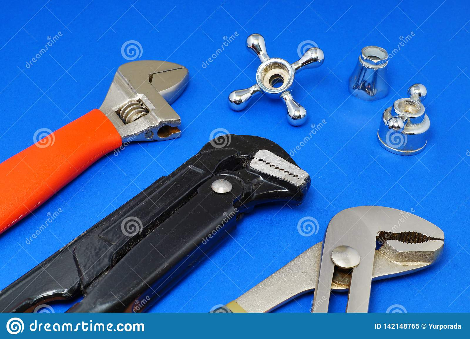 Plumbing Work Tools On A Blue Background Stock Image Image Of Background Building 142148765