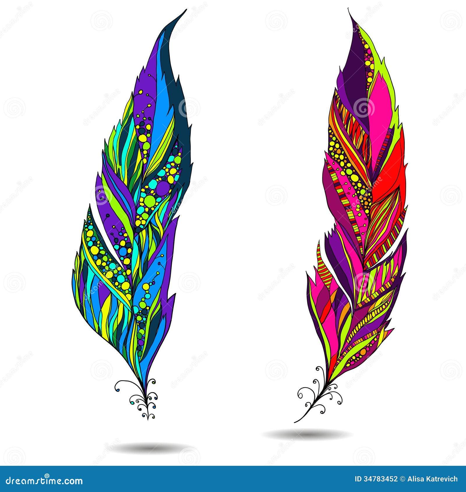 plume d 39 oiseau d corative illustration de vecteur image du isolement 34783452. Black Bedroom Furniture Sets. Home Design Ideas