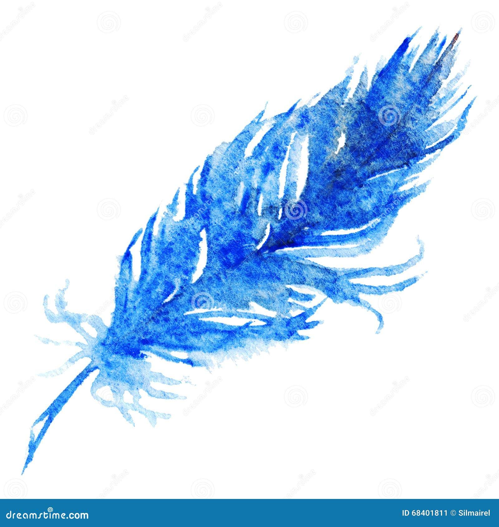 plume d 39 oiseau simple de bleu marine d 39 aquarelle illustration stock image 68401811. Black Bedroom Furniture Sets. Home Design Ideas