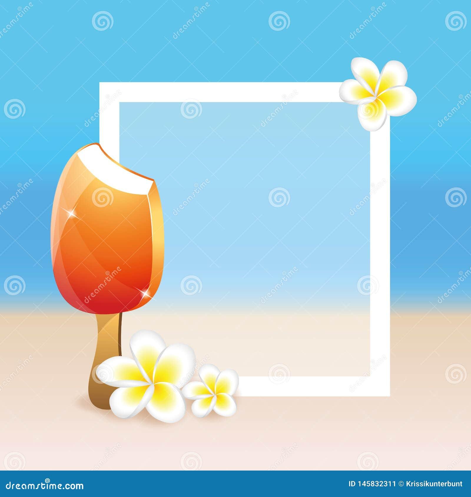 Plumeria-Strandhintergrund Blumen des Frangipani exotischer im Sommer mit Eiscreme