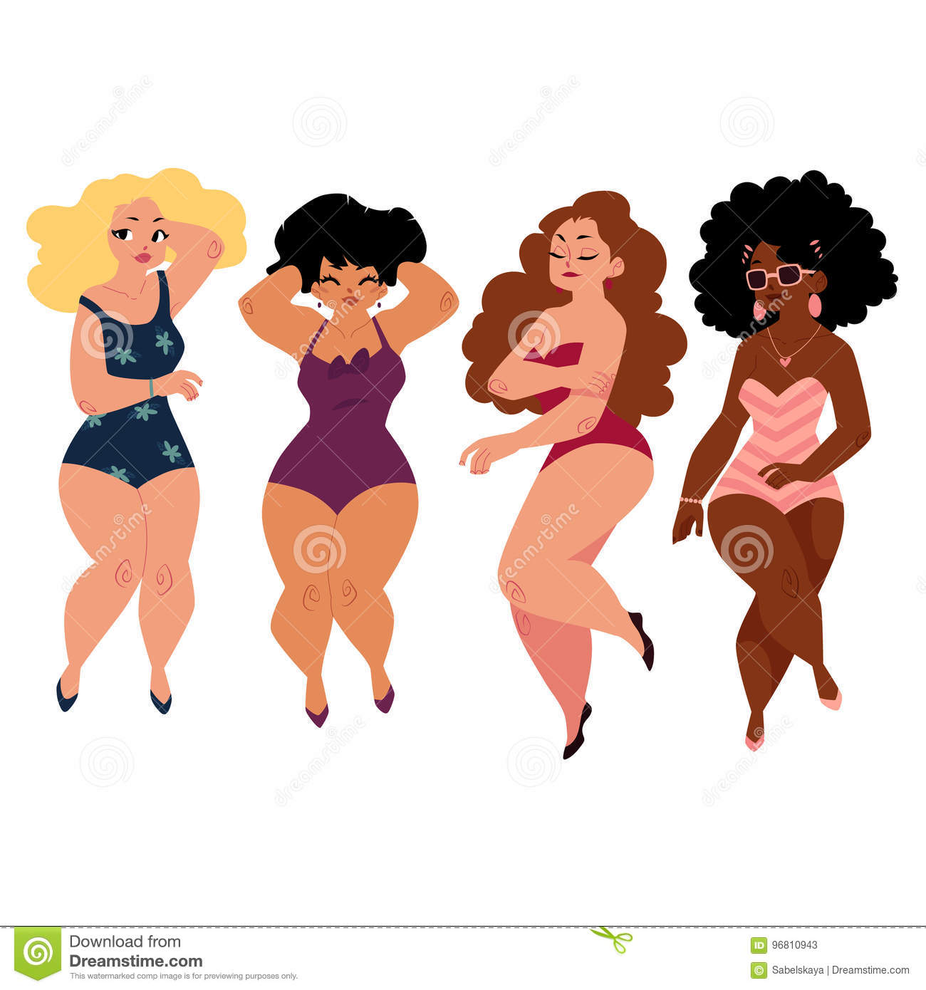 Plump, Curvy Women, Girls, Plus Size Models In Swimming Suits Stock Vector -6285