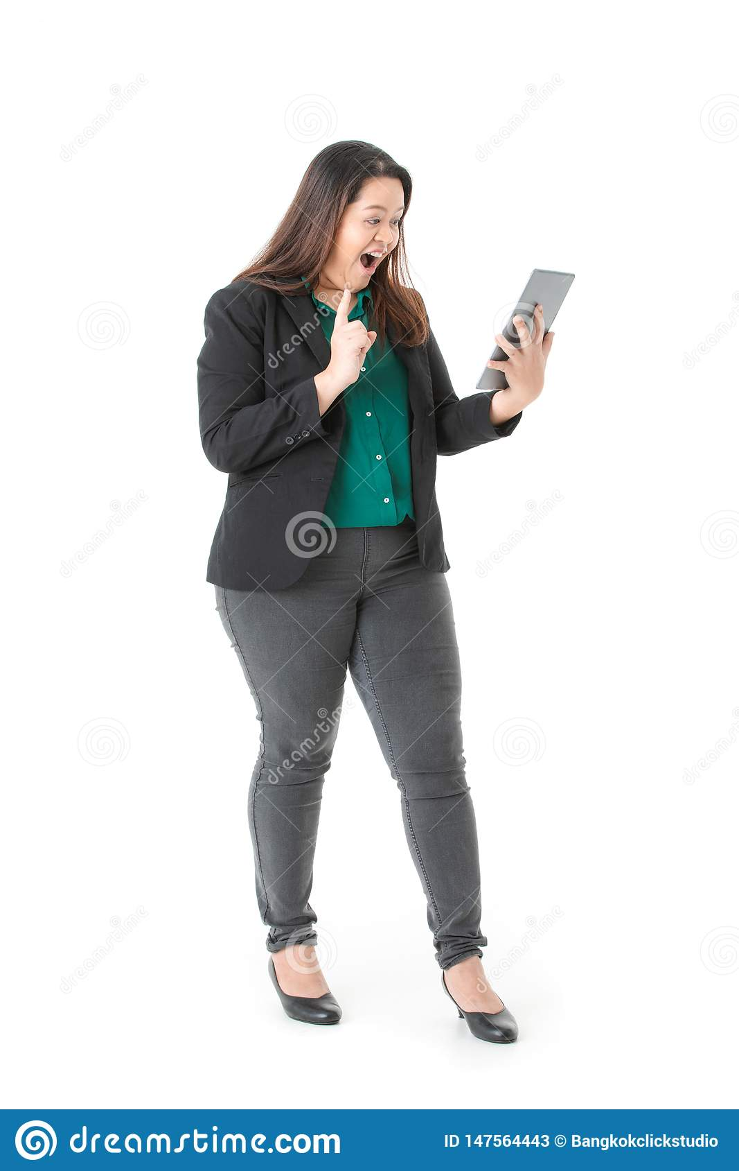 Plump lady in smart casual