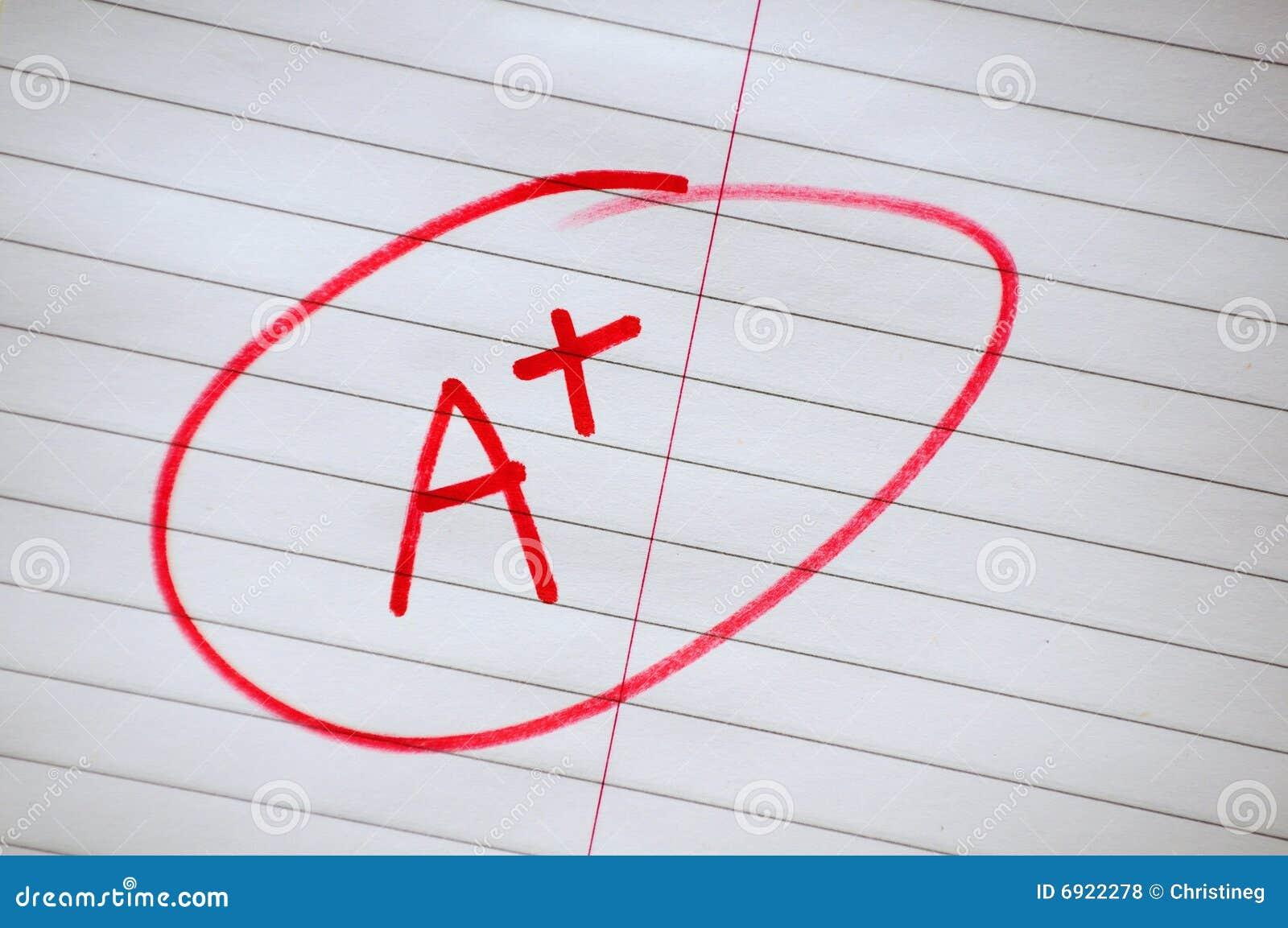 a plus stock photo  image of positive  exam  grade  plus