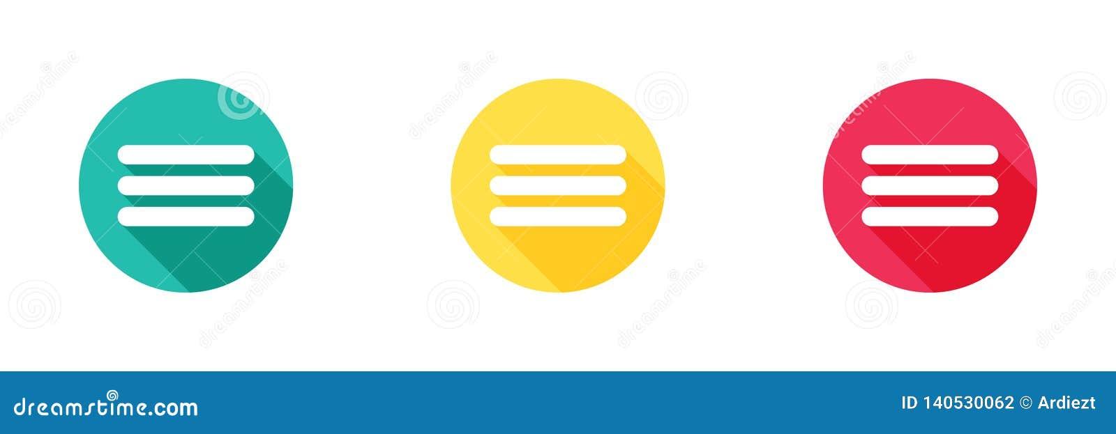 Plus d icône à l arrière-plan jaune et rouge vert avec le long effet d ombre Conception simple, style solide/de glyph icônes pour
