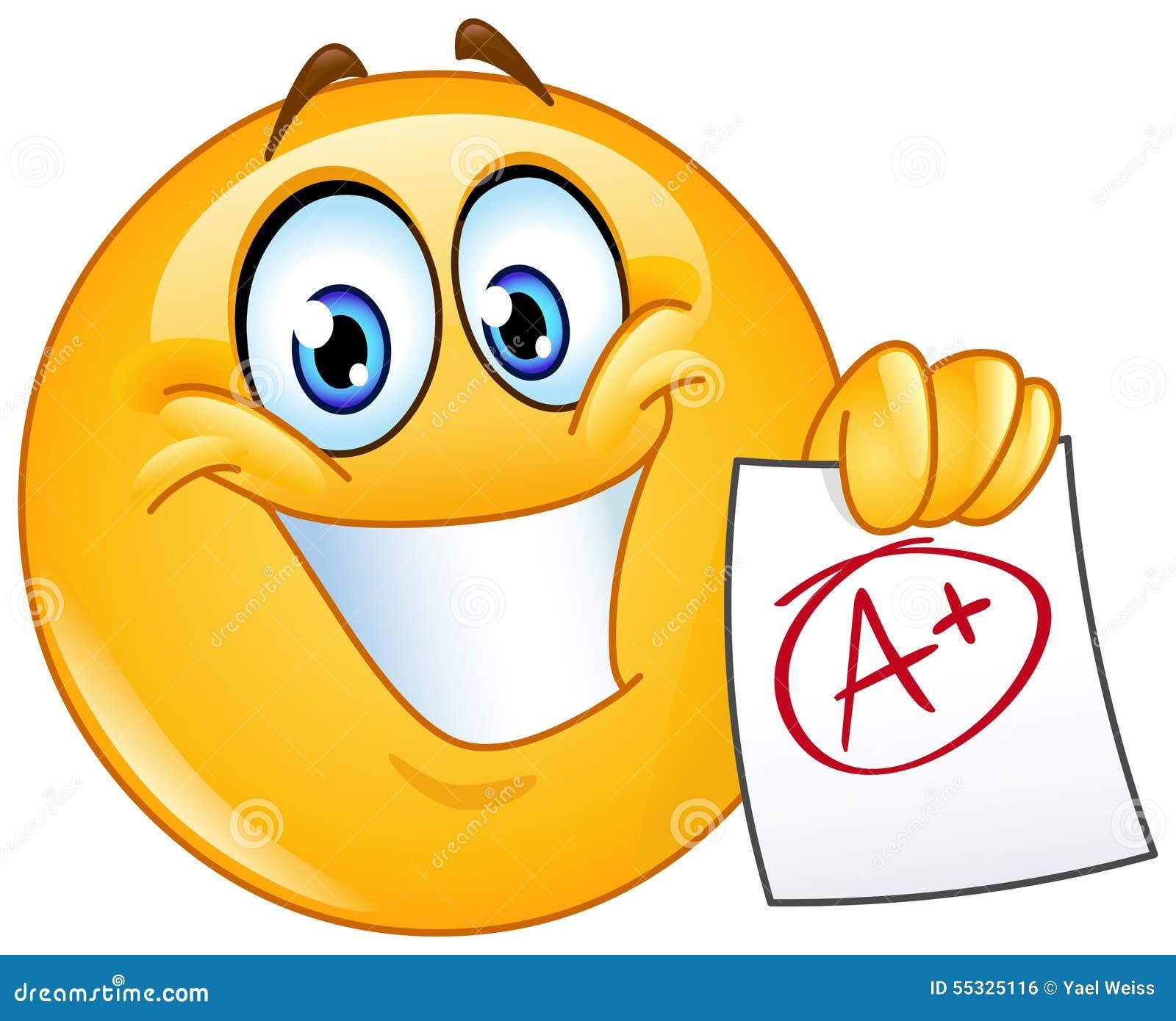 A Plus Grade Emoticon Stock Vector - Image: 55325116 Happy High School Student Clipart