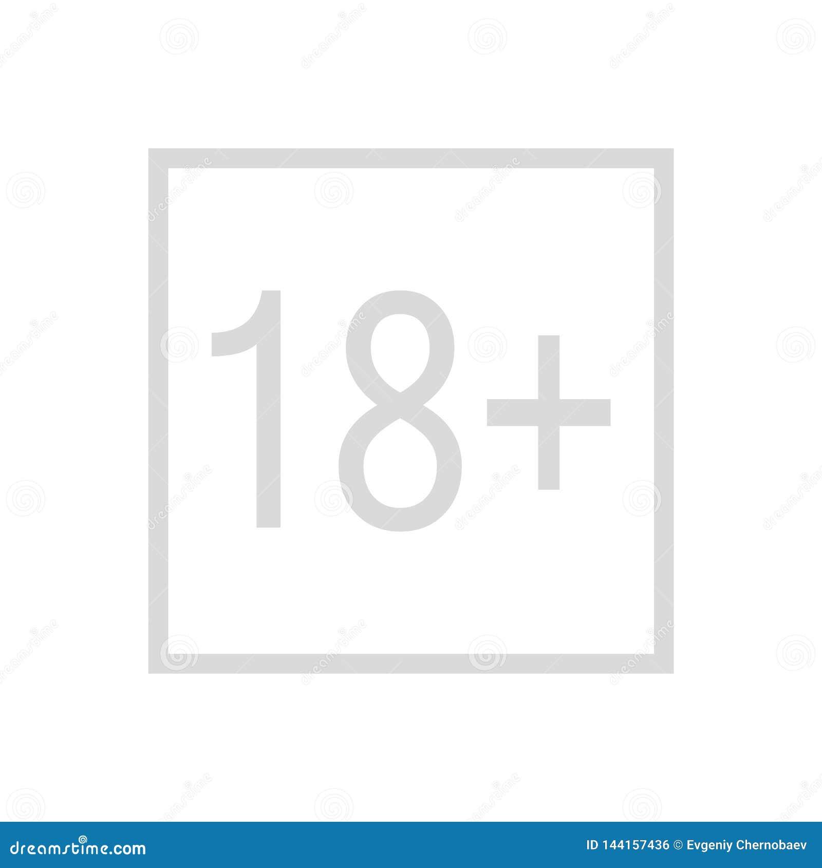 18 plus jaren oud teken Het pictogram van de volwasseneninhoud 18 plus het teken vectorpictogram van de leeftijdsbeperking Leefti