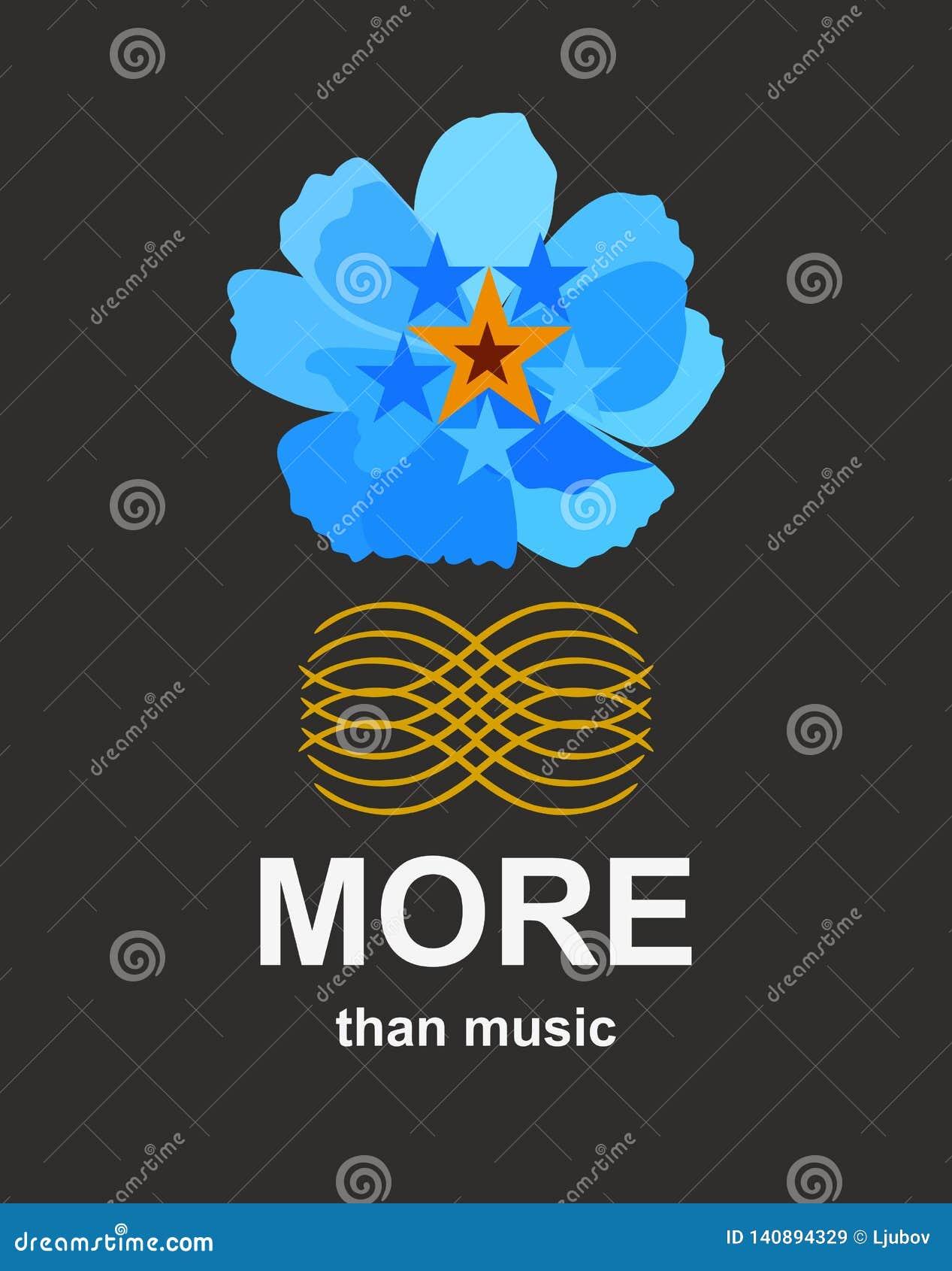 Plus que la musique Calibre pour la bannière avec la fleur bleue et le modèle d or abstrait d isolement sur le fond noir dans le