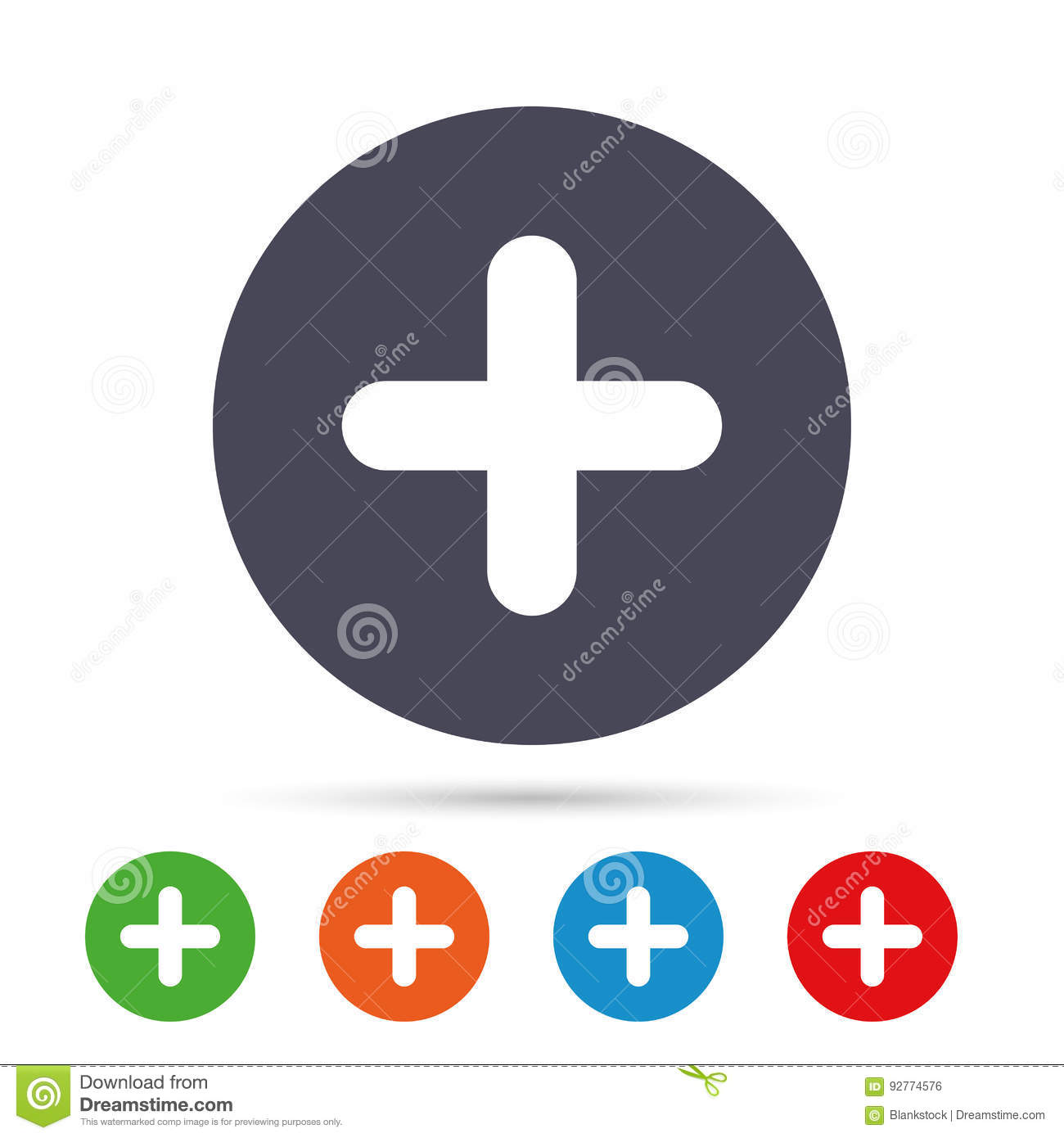 Plus Sign Icon Positive Symbol Stock Vector Illustration Of