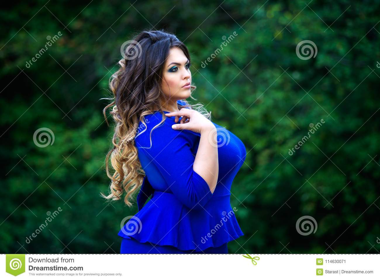 9c2a7994cb2f2 Plus Size Fashion Model In Blue Dress Outdoors, Beauty Woman With ...