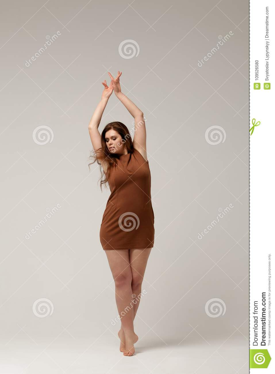 Plus Size Fashion Model In Brown Short Dress Stock Photo - Image of ...