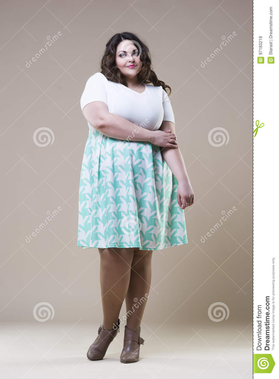 Plus Size Fashion Model In Casual Clothes Fat Woman On Beige Studio Background Overweight Female Body Stock Image Image Of Casual Beautiful 97183219