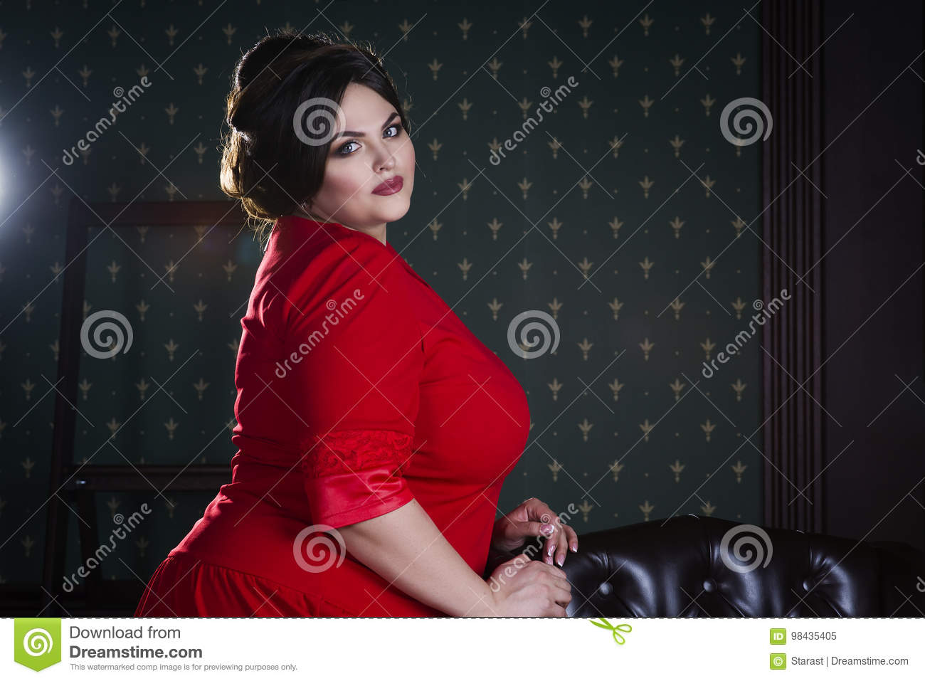 ae4fef3517a Plus Size Fashion Model In Red Evening Dress