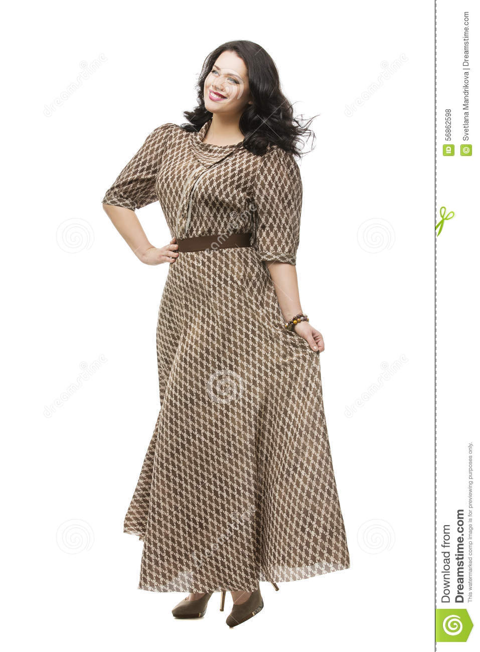 Plus size model in dress stock photo image 56862598 - Modele dressing ...