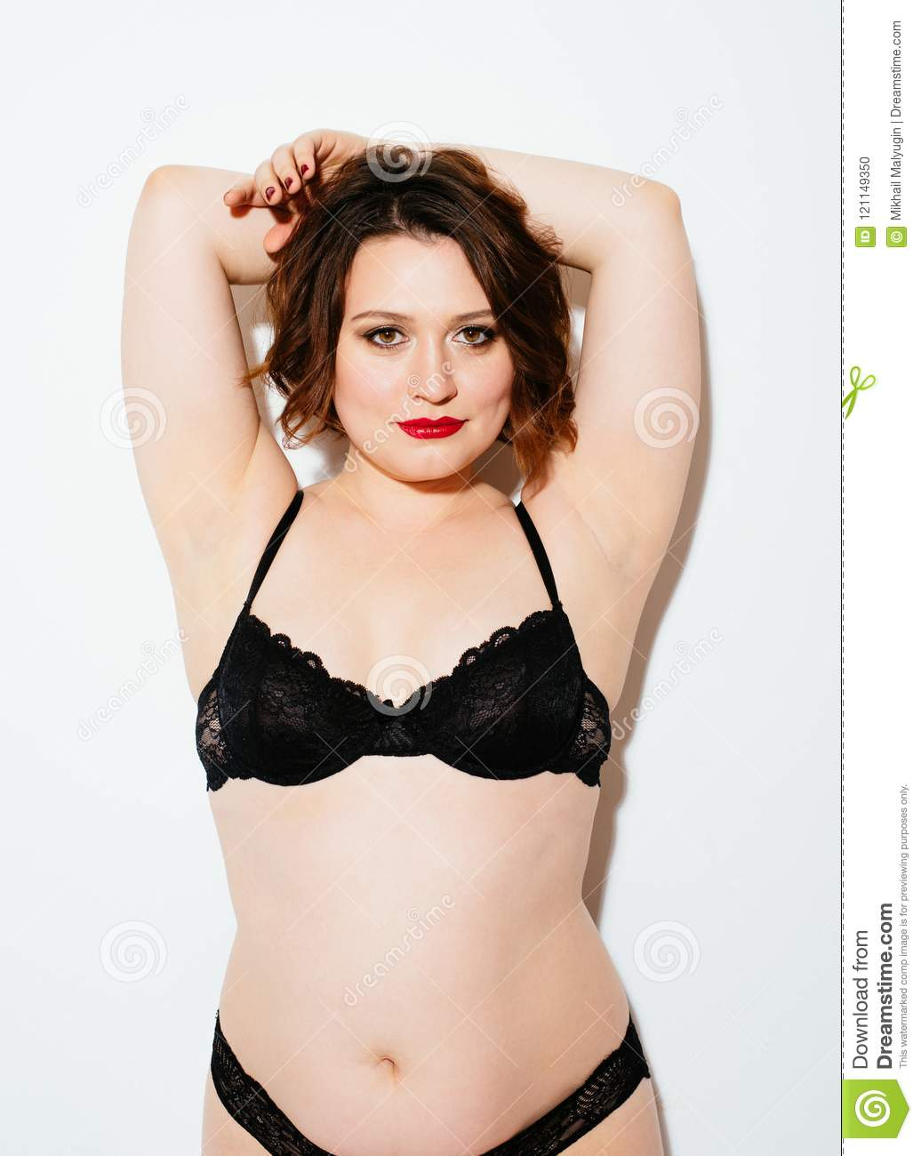 01256c1070 Plus Size Woman In Lingerie Stock Photo - Image of lady
