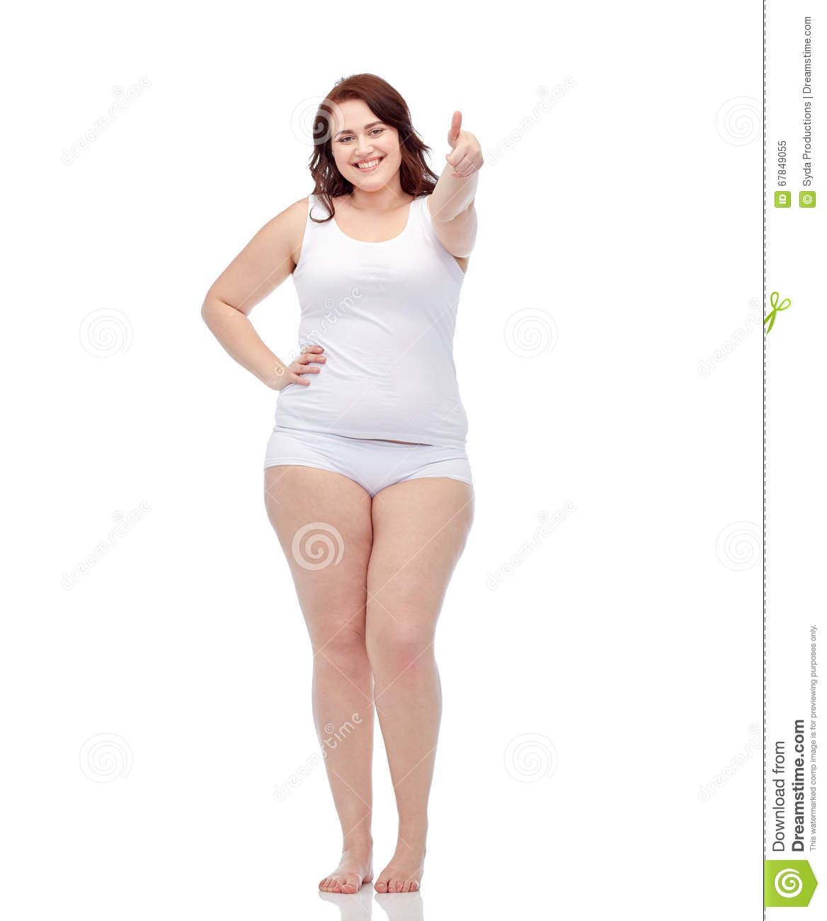 Plus Size Woman In Underwear Showing Thumbs Up Stock Photo - Image ...