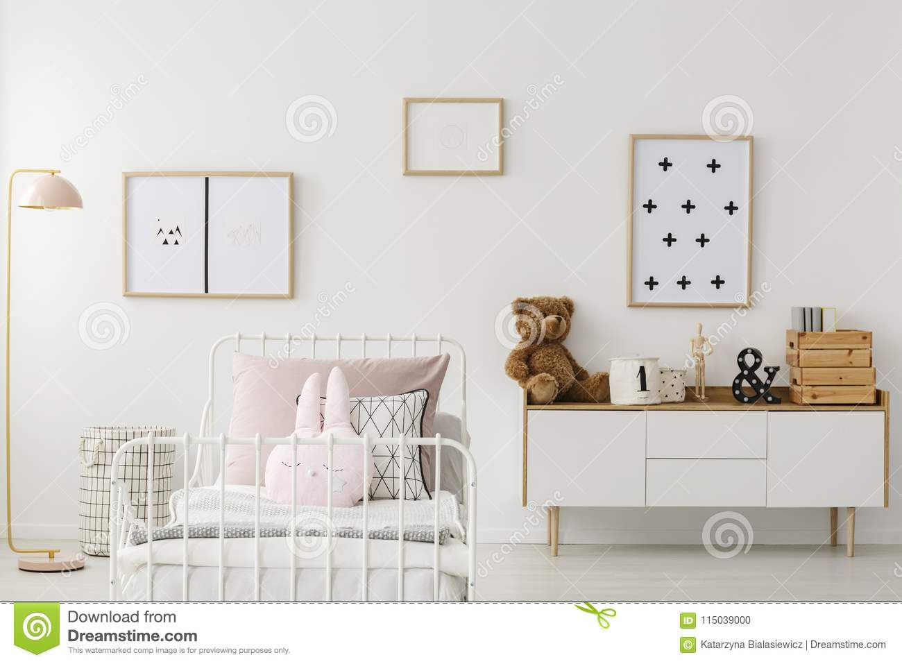 Kid S Bedroom Interior With Mockup Stock Photo Image Of Home Apartment 115039000