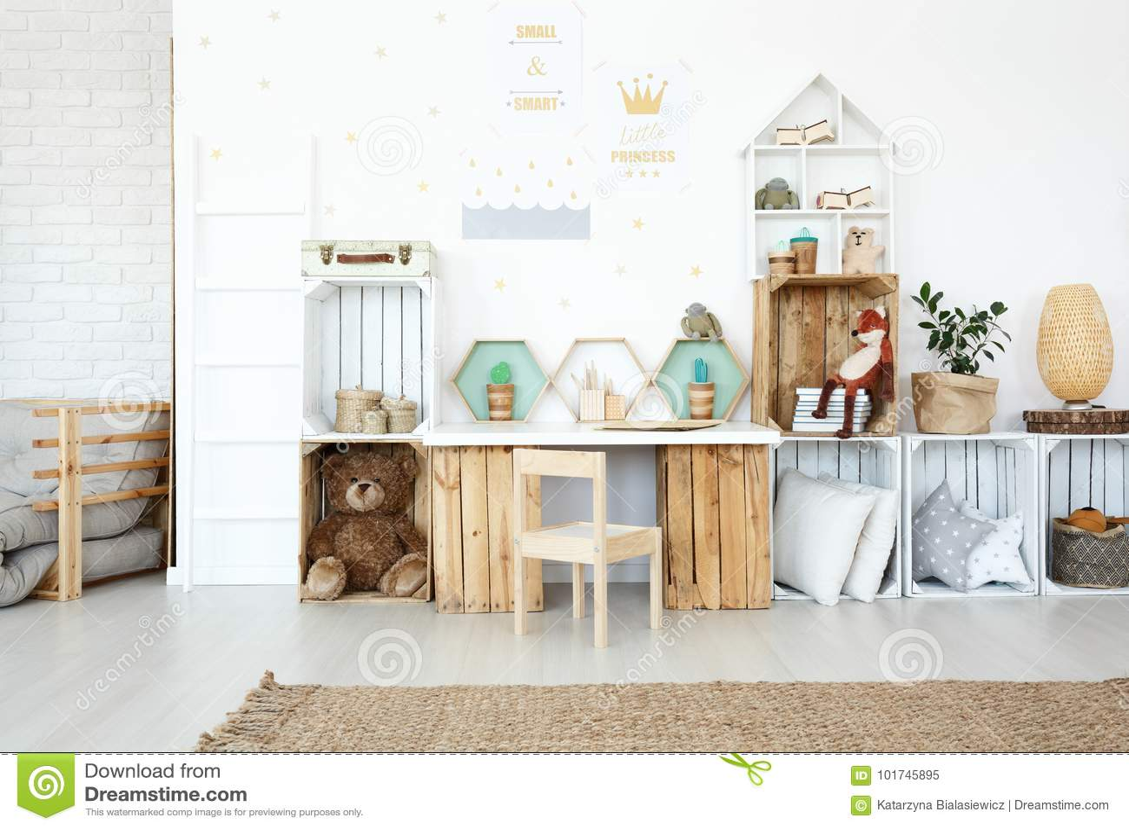 Plush toys in child`s room