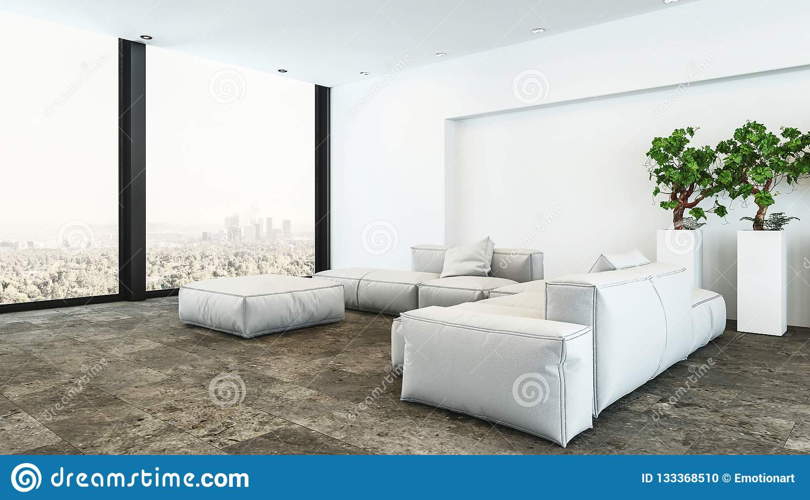 Plush white penthouse living room with city view